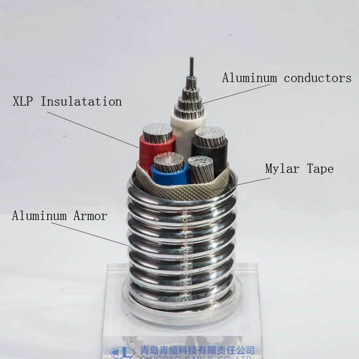 MC cable Aluminum/Al conductors XLPE/XLP insulation/insulated Al armored for  power/lighting/control/signal circuits awg/kcmil
